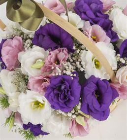 Mutlu Düşler Renkli Lisyantus Çiçek Sepeti