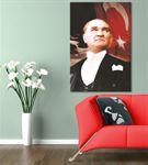 Atatürk Türk Bayraklı Kanvas Tablo 75x100cm