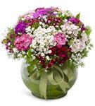 Cam Fanusta Renkli Bahar Çiçekleri Aranjmanı