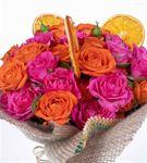 Greta Serisi Turuncu Pembe Çardak Gül Çiçek Buketi