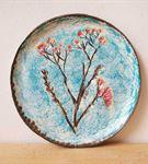 Kiraz Çiçeği Desenli Dekoratif Duvar Süsü Tabağı