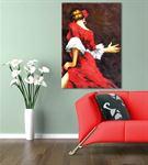 Kırmızı Elbiseli Dansçı Kadın Kanvas Tablo 20x30cm