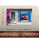 Mavi Pencere Büyük Boy  Kanvas Tablo 100x150 cm