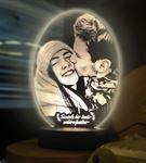 Resimli Oval 3d Modelli Gece Lambası