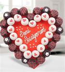 Seni Seviyorum Mesajlı Kalp Kurabiye Buketi