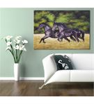 Siyah Koşan Atlar Kanvas Tablo 60x90cm