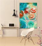 Soyut Mavi Kırmızı Daireli Kanvas Tablo 35x50cm