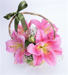 Toz Pembe Sevgi Mis Kokulu Lilyum Çiçek Sepeti