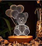 Balon Tutan Sevimli Ayıcık 3 Boyutlu Led Lamba