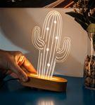 Çöl Kaktüsü Tasarımlı 3D Led Lamba