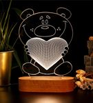 Kalp Tutan Sevimli Ayıcık 3 Boyutlu Led Lamba