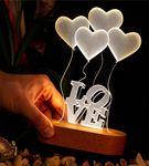 Love Yazılı Kalpli 3D Led Lamba