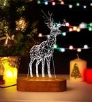 Yılbaşı Hediyesi Ren Geyiği Tasarımlı 3D Led Lamba