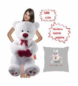 100 Cm Bobo Kahve Peluş Ayı Yastık Tavşan Hediyeli