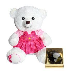 40 Cm Pembe Elbiseli Beyaz Ayıcık, Obsidyen Taş He