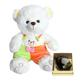 40 Cm Renkli Tulumlu Beyaz Ayıcık, Obsidyen Taş He