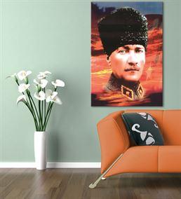 Atatürk Türkiye Bayraklı Kanvas Tablo 50x70cm