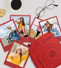 İnstax Polaroid Fotoğraf ve Ahşap Kutu Kırmızı
