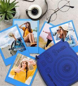 İnstax Polaroid Fotoğraf ve Ahşap Kutu Mavi