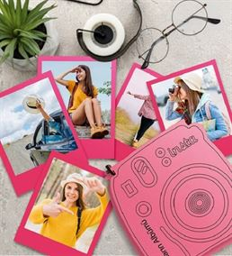 İnstax Polaroid Fotoğraf ve Ahşap Kutu Pembe