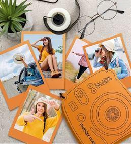 İnstax Polaroid Fotoğraf ve Ahşap Kutu Turuncu