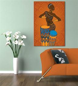 Afrikalı Kadın Müzisyen Kanvas Tablo 20x30cm