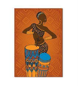 Afrikalı Kadın Müzisyen Kanvas Tablo 50x70cm