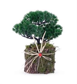 Doğal Ahşap Kütükte Yapay Bonsai Bitkisi