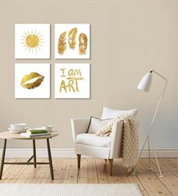 Altın Renkli Modern Beyaz 4'lü Kombin Mdf Tablo