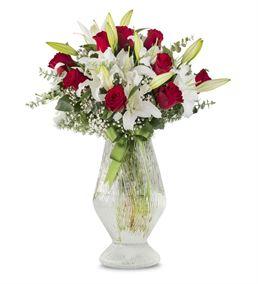 Asaletli Kırmızı Beyaz Çiçekler