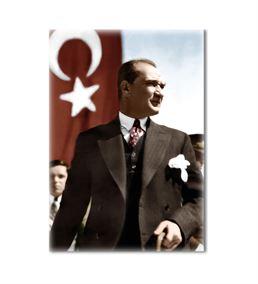 Atatürk Ayakta Türk Bayraklı Kanvas Tablo 35x50cm