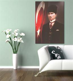 Atatürk Kalpaklı Bayraklı Kanvas Tablo 50X70cm