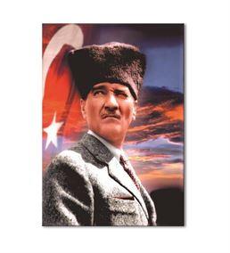 Atatürk Kalpaklı Ceketli Kanvas Tablo 60x90cm