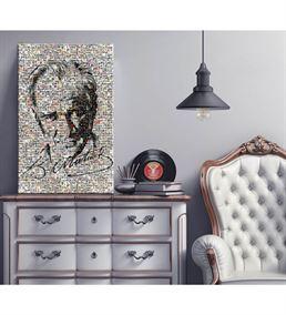 Atatürk ve İmzası Mozaik Kanvas Tablo 20x30cm