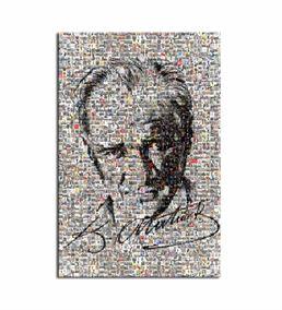 Atatürk ve İmzası Mozaik Kanvas Tablo 35x50cm