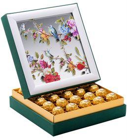 Aynalı Kuşlu Çerçeveli Çikolata Kutusu