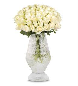 Beyaz Duygu Vazoda 50 Beyaz Güller