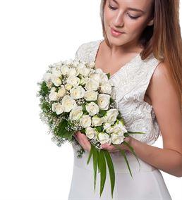 Beyaz Rüya Gül Gelin Buketi Çiçeği
