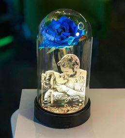 Cam Fanus Mavi Gül Resimli 3d Gece Lambası