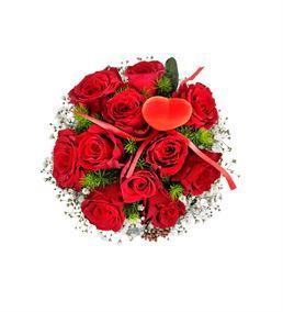 Dekoratif Vazoda 11 Kırmızı Gül Aranjmanı