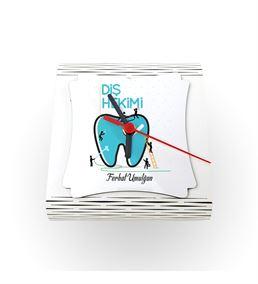 Diş Hekimine Hediye Masaüstü Ahşap Saat