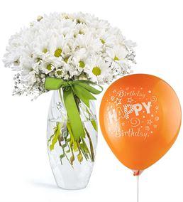 Doğum Günü Balonlu Cam Vazoda Beyaz Papatyalar