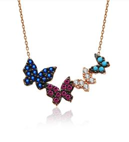 Dörtlü Renkli Kelebekler Gümüş Kolye
