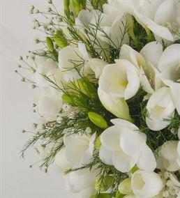 Düş Güzeli Vazoda Beyaz Frezyalar
