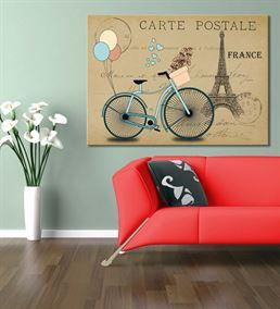 France Mavi Bisiklet Kanvas Tablo 35x50cm