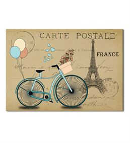 France Mavi Bisiklet Kanvas Tablo 50x70cm