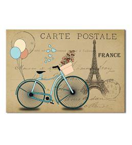 France Mavi Bisiklet Kanvas Tablo 75x100cm