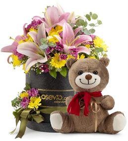 Frosisone Siyah Kutuda Ayıcıklı Çiçek Aranjmanı