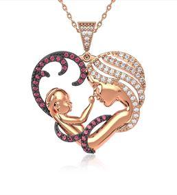Fuşya Taşlı Kalpli Anne Bebek Rose Gümüş Kolye