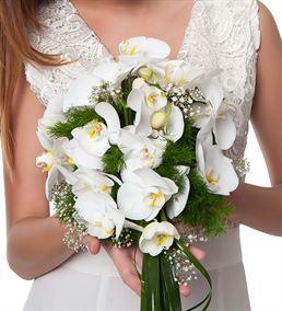 Gösterişli Beyaz Orkideler Gelin Buketi Çiçeği